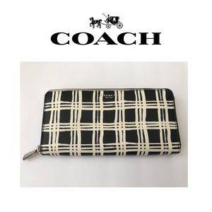 🆕NEW Authentic Coach Black &White Zippered Wallet